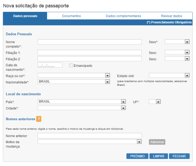 Nova Solicitação de Passaporte