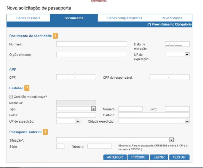 Nova Solicitação de Passaporte_tela 2